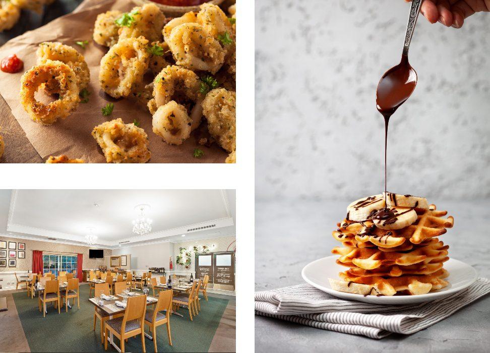 Restaurant interior and meals