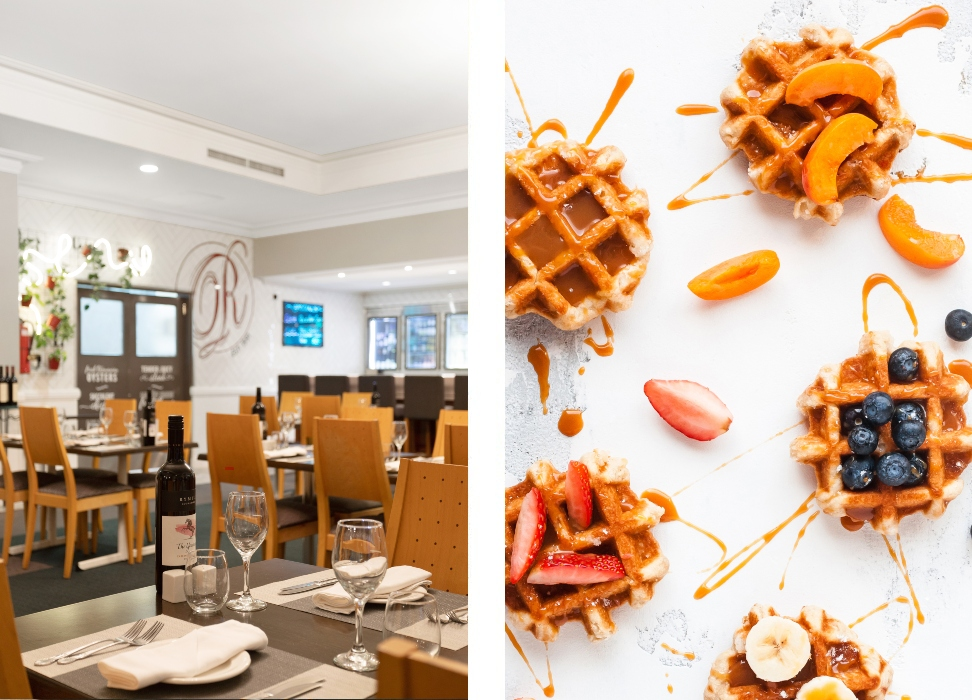 restaurant tables and waffle meal